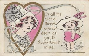 VALENTINE´S DAY; PU-1913; Woman in heart, Cupid, Poem