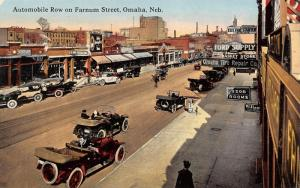 Omaha NE~Farnum Street Automobile Row~Free Air~Willard Station~Ford Supply~1908