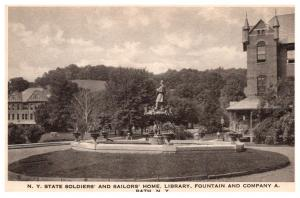 New York  Bath , Soldier's and Sailor's Home , Library , Fountain ,...