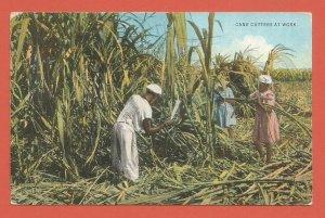 JAMAICA – CANE CUTTERS AT WORK – 1937 LINEN POSTCARD