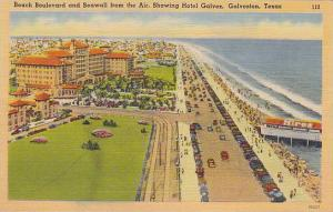 Beach Boulevard and Seawall from the Air, showing Hotel Galvez, Galveston, Te...