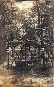 Postcard Teepee Type Wooden Hut Rack RPPC