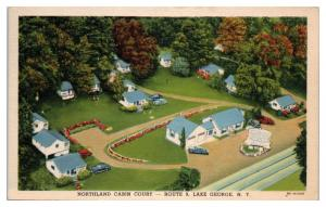 Mid-1900s Northland Cabin Court, Route 9, Lake George, NY Postcard