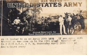 Lansing MI US Army 1898 Recruiting Poster 1911 Soldiers Reunion RPPC Postcard