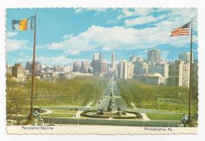Philadelphia PA Panorama Skyline Parkway Eakins Oval City Hall 4X6 Postcard