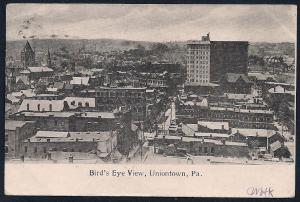 Bird's Eye View Uniontown Pennsylvania used c1907