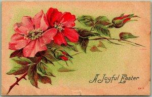 EASTER Greetings Postcard Joyful Easter Red & Pink Flowers #2407 - 1909 Cancel