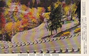 Autumn Leaves, School Bus, Charged Road Iroha Pass, Nikko, Japan, 40-60's