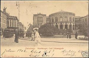 norway, CHRISTIANIA, Storthinget, Carl Johansgade, TRAM