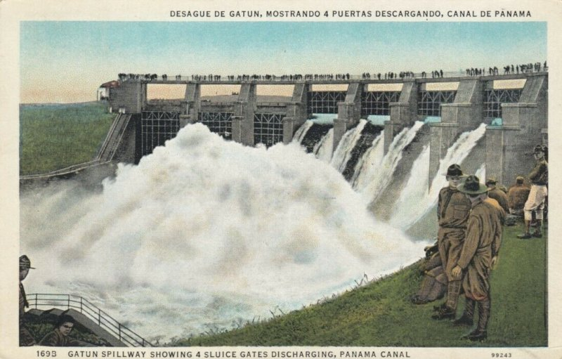 GATUN, Panama, PU-1935 ; Gatun Spillway showing 4 Sluice Gates Discharging