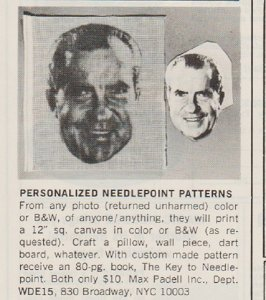 President Richard Nixon's Face in Needlepoint 1973 Ad for Needlepoint Patterns