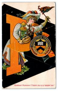Early 1900s College Girl Series Princeton Pennant Fold-Out Postcard