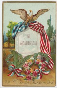 DECORATION DAY, PU-1913; Grave stone In Memoriam, Bald Eagle, U. S. Flag