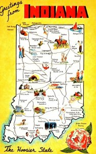 Map Of Indiana With Greetings From The Hoosier State