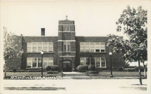 RPPC  ROGERS CITY, Michigan MI ~ ST. IGNATIUS SCHOOL c1940s  Real Photo Postcard