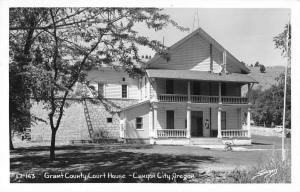 Canyon City Oregon Grant Court House Real Photo Antique Postcard K32922