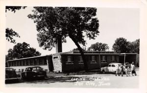 Sac City Iowa~Early 1950s Cars~Family Leaves After Visit @ Loring Hospital RPPC