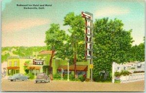 Garberville, California Postcard REDWOOD INN Motel - Hwy 101 Roadside Linen 1956
