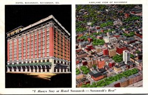 Georgia Savannah Airplane View and Hotel Savnnah 1940