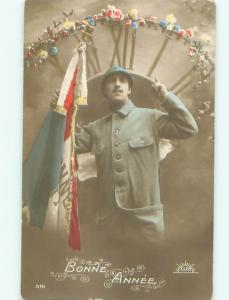 tinted rppc c1910 SOLDIER WITH FLAG OF FRANCE AC9036