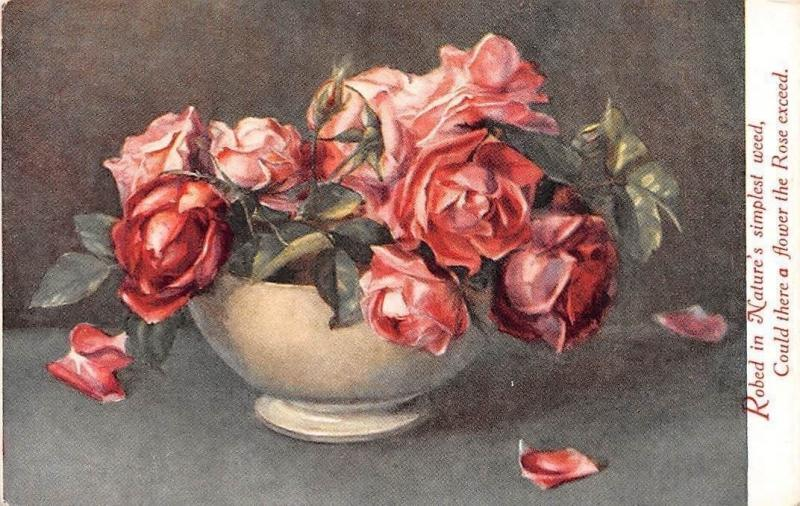 Still Life Art, Roses Vase, Robed in Nature, Flower