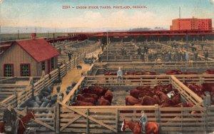 Union Stock Yards, Portland, Oregon, Early Postcard, Used in 1912