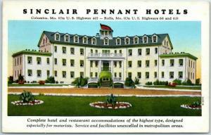 Missouri Roadside Postcard SINCLAIR PENNANT MOTELS  Columbia & Rolla c1950s