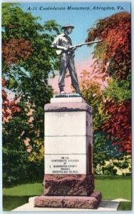 ABINGDON, Virginia  VA    CONFEDERATE MONUMENT  ca 1940s Linen   Postcard