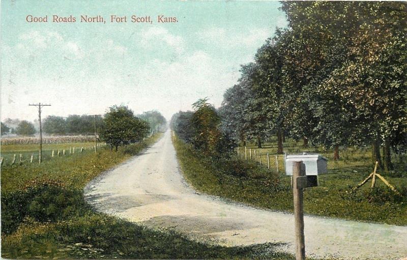 Fort Scott Kansas~Good Roads North~Dirt Lane~Farm Mail Box