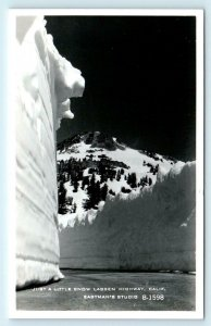 RPPC LASSEN NATIONAL PARK, CA ~ Just a Little Snow  c1950s Eastman  Postcard
