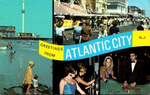 New Jersey Atlantic City Greetings Showing Boardwalk and More
