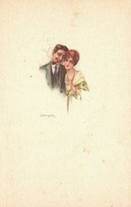 Vintage Postcard 1910's Man with Pipe with Woman Color Love Greeting