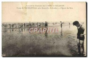 Old Postcard Camp Tourgevill near Deauville L & # 39heure bath Vacation Camps
