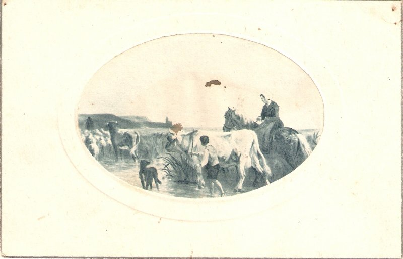 Lady ib horse. Leading the animalsOld vintage Frenchn postcard