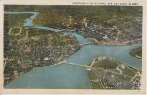 TAMPA FL - AERIAL VIEW of DAVIS ISLAND & CITY VIEW 1920s