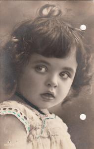 Cute little girl portrait holed/pierced early postcard