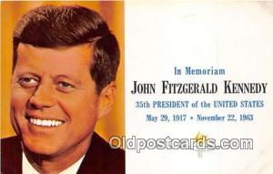May 29, 1917-Nov 22, 1963 Postcard Memoriam John Fitzgerald Kennedy