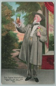 Kentucky~Man Holding Drink~Two Typical Kentuckians~Vintage Postcard