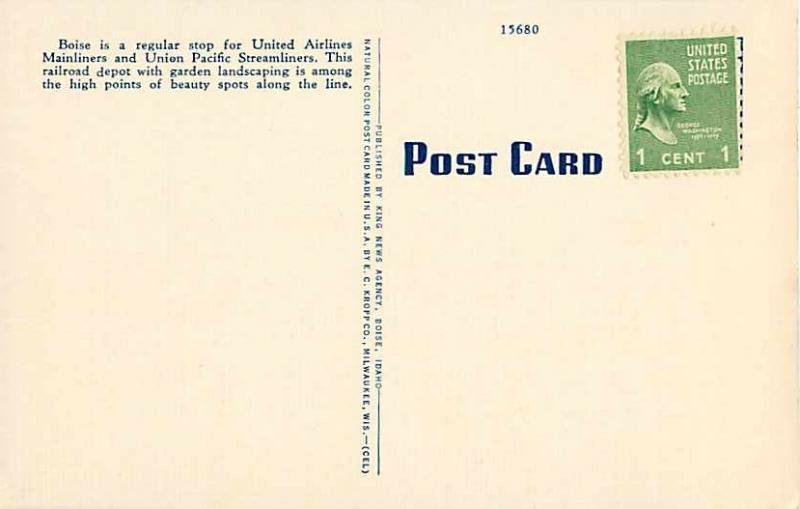 Union Pacific Railroad Depot Boise ID Idaho Linen Postcard