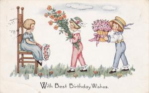 BIRTHDAY, With Best Birthday Wishes, Little Girls Bringing Flowers To A Girl ...