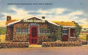 Badlands North Dakota~Petrified Forest Headquarters~Cedar Canyon~1940s Postcard