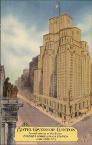 New York City Hotel Governo Clinton Linen Art Deco Postcard
