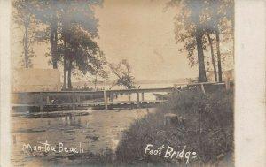 LPM31 Manitou Beach Foot Bridge   Michigan RPPC Postcard