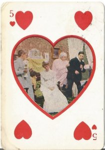 Five of Hearts Vintage Postcard designed to look like playing card Men fighting