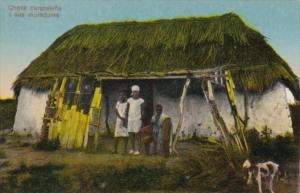 Curacao Typical Native Family In Front Of Hut