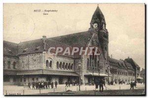 Old Postcard Metz Hauptbahubof Station
