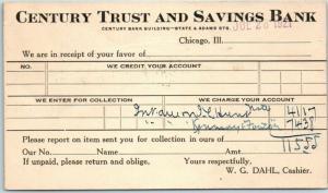 Chicago, Illinois Postcard CENTURY TRUST AND SAVINGS BANK Statement Card 1921