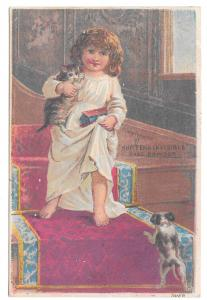 Victorian Trade Card Hunters Invisible Medicated Face Powder Puppy Girl Kitten