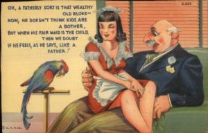 Sexy Made on Bosses Lap & Parrot Curt Teich C-223 Linen Comic Postcard