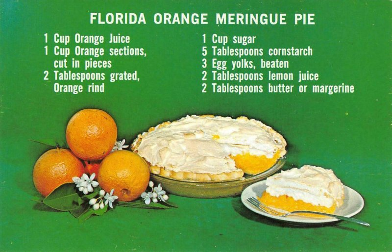 FLORIDA ORANGE MERINGUE PIE Recipe Cooking Food c1960s Vintage Postcard